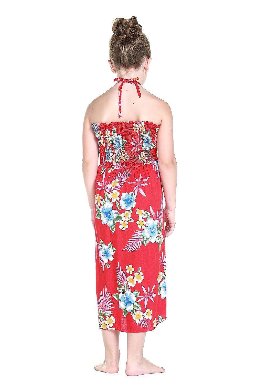 Niña hawaiano Vestido de - mariposa en de hawaiano Rojo del hibisco ...