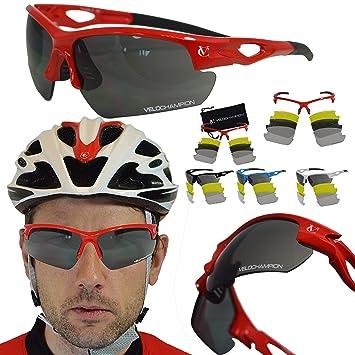 603a0d5ed9 VeloChampion Tornado - Gafas de Sol - Ciclismo Running (3 Juegos de Lentes  Intercambiables y Funda) (Rojo): Amazon.es: Deportes y aire libre
