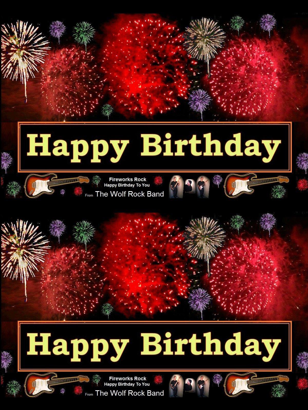 Amazon Happy Birthday Fireworks Greeting Card Rock Happy