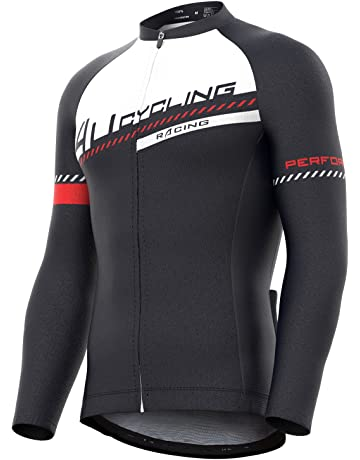 4ucycling Men s Full Zip Moisture Wicking Long Sleeve Cycling Jersey dcce4d0e3