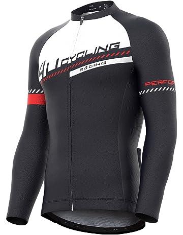 4ucycling Men s Full Zip Moisture Wicking Long Sleeve Cycling Jersey 094fa74aa
