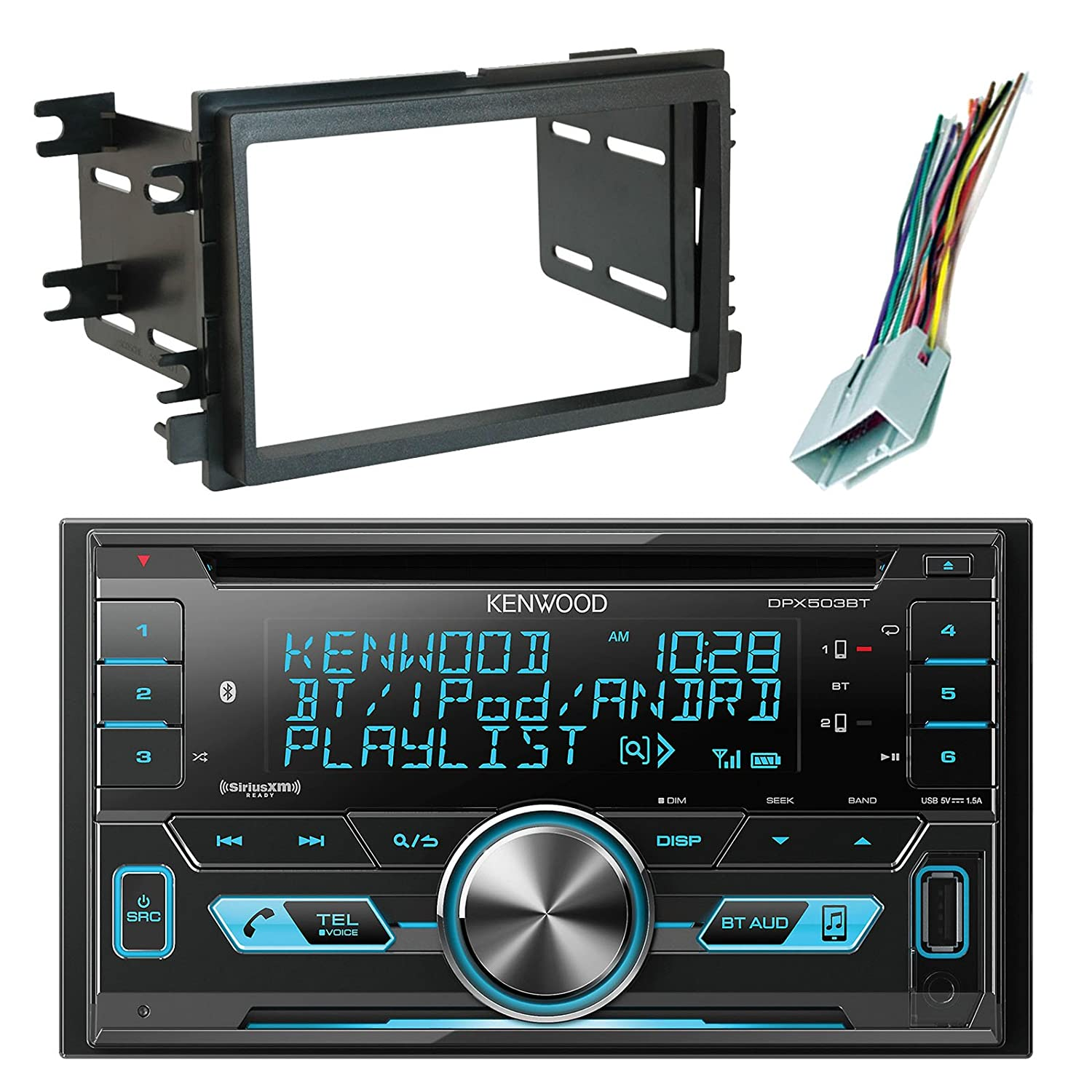 Scosche Kenwood DPX303MBT Digital Media Double-DIN Mechless Bluetooth USB AUX AM//FM Car Audio Receiver 2004-Up Select Ford Scosche FD1426B Dash Kit Install Kit Kenwood w// FD23B Radio Wire Harness