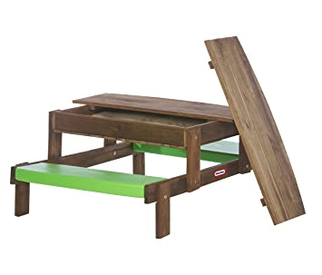 Little Tikes 405008 LT 2 In 1 Wooden Picnic Table With Built