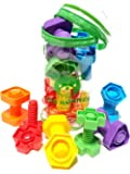 Jumbo Nuts & Bolts Set + Toy Storage & eBook Toddler Game Activities | Montessori Fine Motor Skills Autism Matching Educational Toys for Baby, 1, 2, 3 Year Old Boys and Girls ( 12 pc )