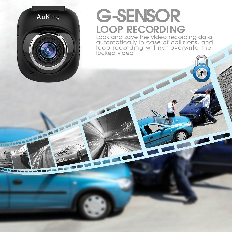 Cam/éra de Voiture AuKing Dashcam Voiture enregistreur de Conduite Full HD 1920x1080P 1.5 Pouces Mini Dash-Cam pour Voiture 168 degr/és Angle Voiture DashCam avec G capteur WDR