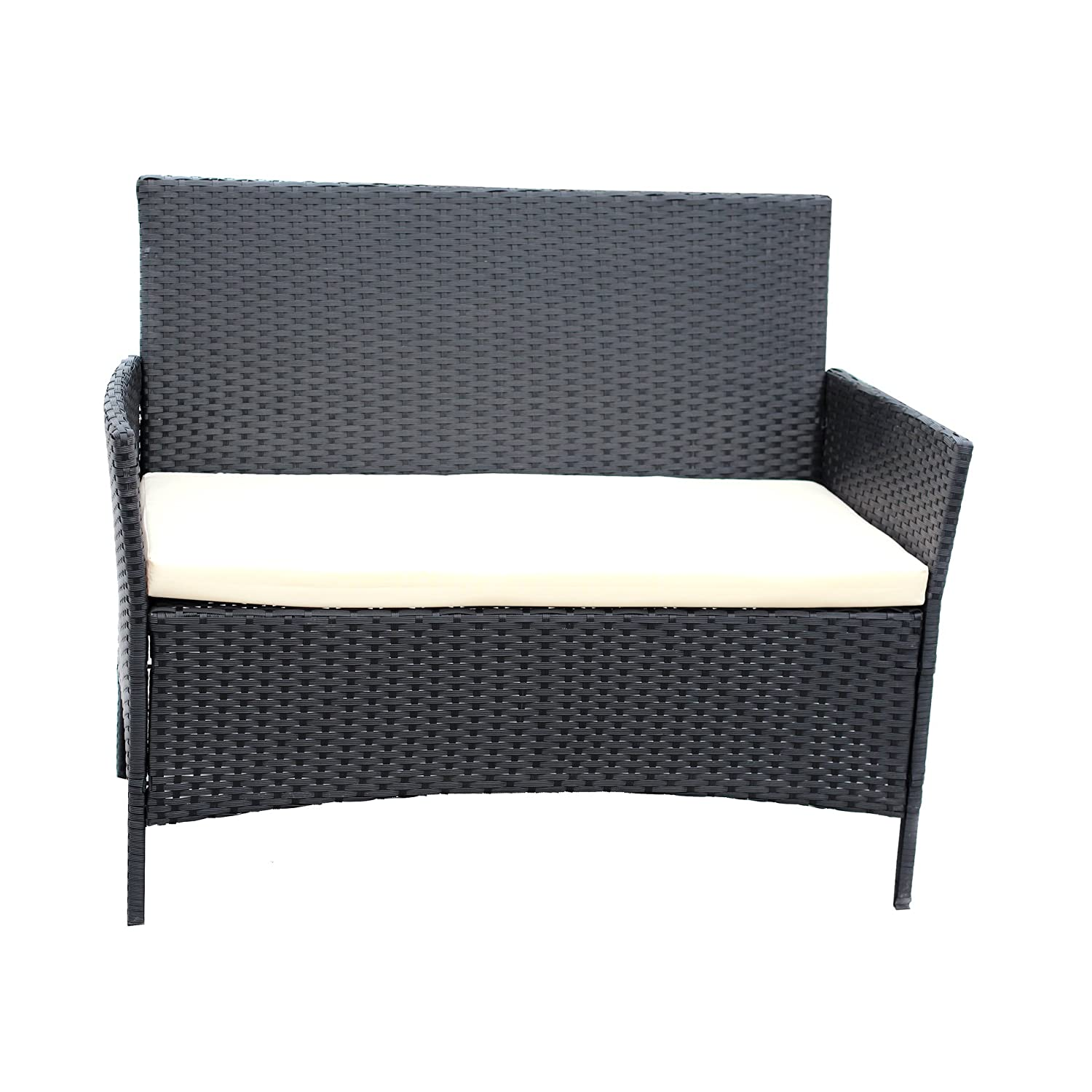 Amazon.com : Patio Furniture Set Clearance Rattan Wicker Dining Table Chair  Indoor Outdoor Furniture Set Balcony Sofa Bench (Black) : Patio, Lawn U0026  Garden