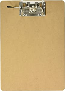 Charles Leonard Letter Size Masonite Clipboard with Shannon Style Arch Posts, Two Sided Smooth, Brown, 9 X 14.5 Inches (89533)
