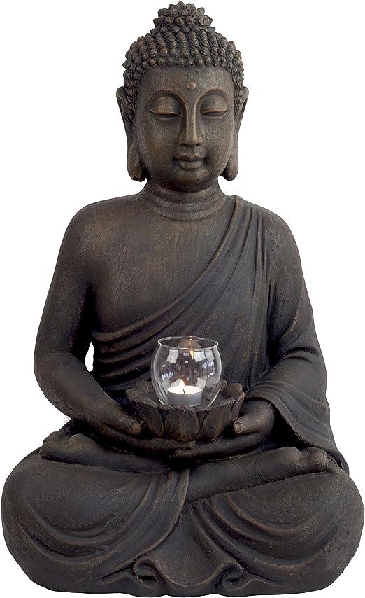 Grande 60 cm piedra efecto Fibreclay jardín de Buda Estatua Figura decorativa con portavelas: Amazon.es: Jardín