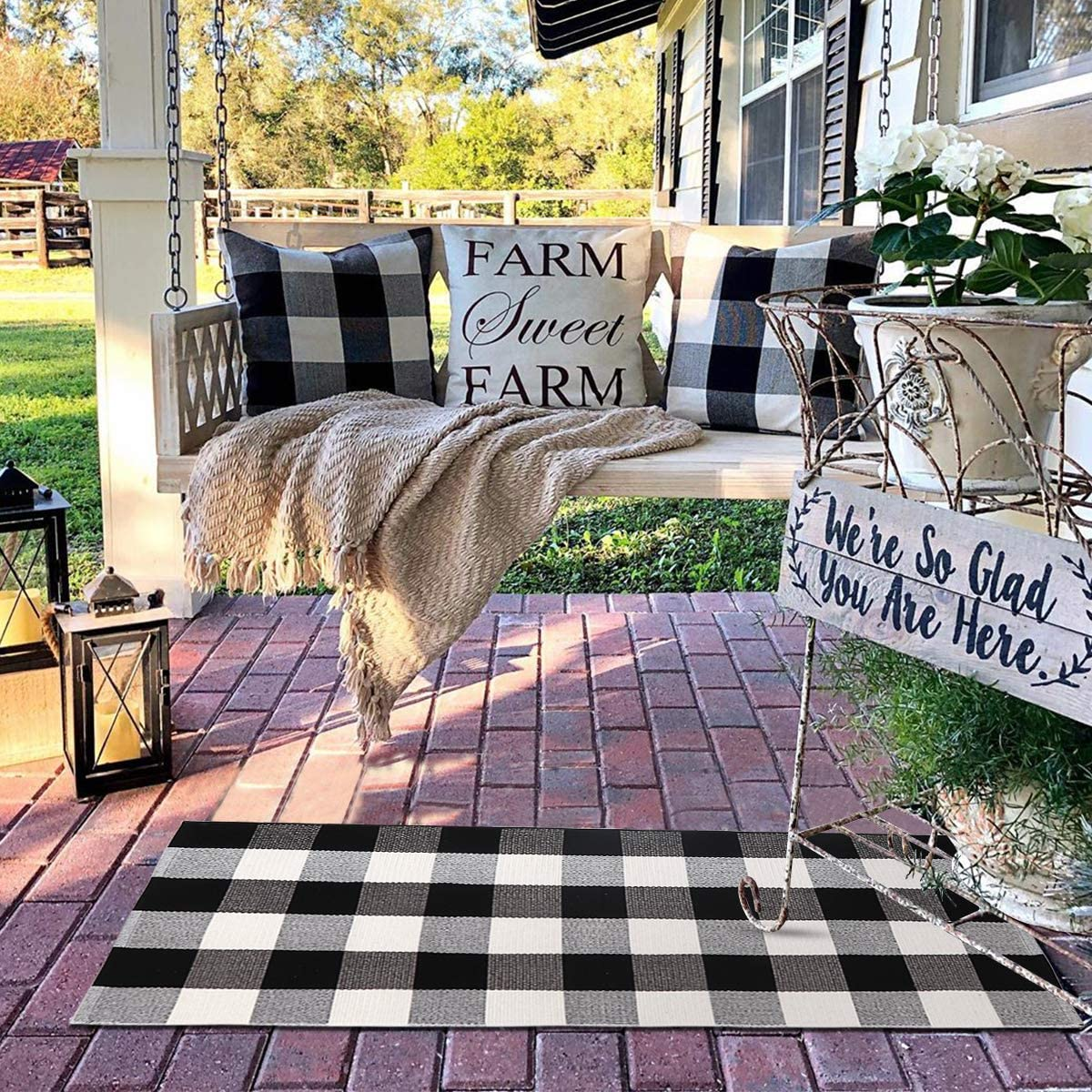 Seavish Cotton Buffalo Checkered Rug,2 Piece Set Black and White Plaid Rug Handmade Moven Runner Doormat Includes 2 x3 2 x4.4 ,Machine Washable Carpet Welcome Mat for Outdoor Porch Entry Way