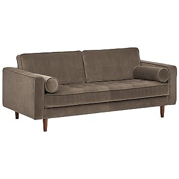Rivet Aiden Tufted Mid-Century Modern Velvet Bench Loveseat Sofa, 74