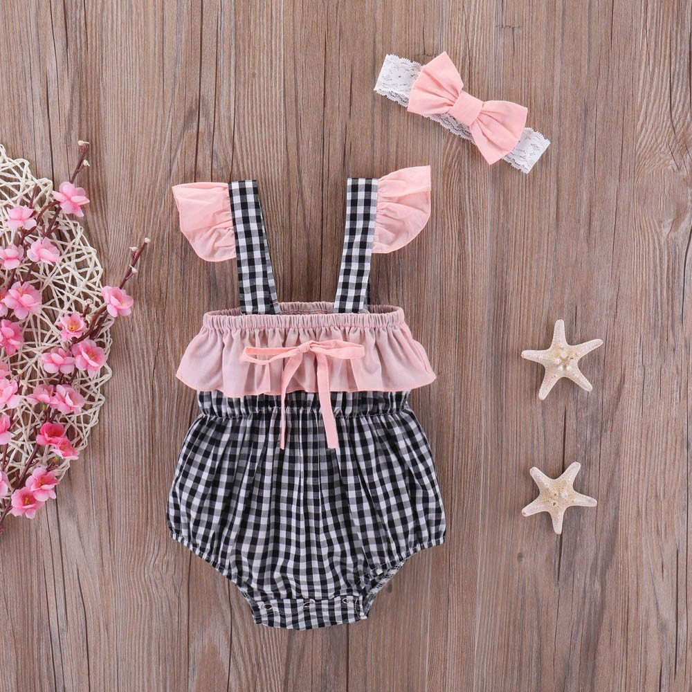 Lurryly Newborn Baby Girls Plaid Print Romper Jumpsuit+Lace Headband Clothes 0-24 M