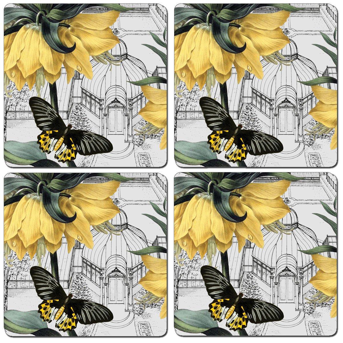 Calaホーム4ハードボードコースターのセット、新しいYork Botanical Garden Conservatory   B0797CFH2H