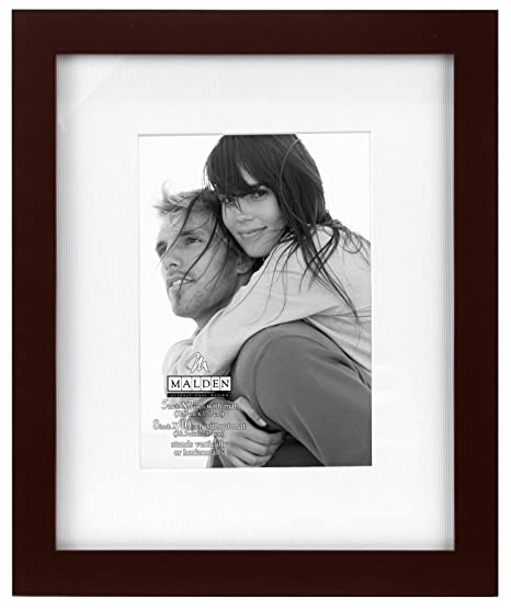 Walnut 5x7-Inches/ 8070-57 Malden International Designs Matted Linear Classic Wood Picture Frame