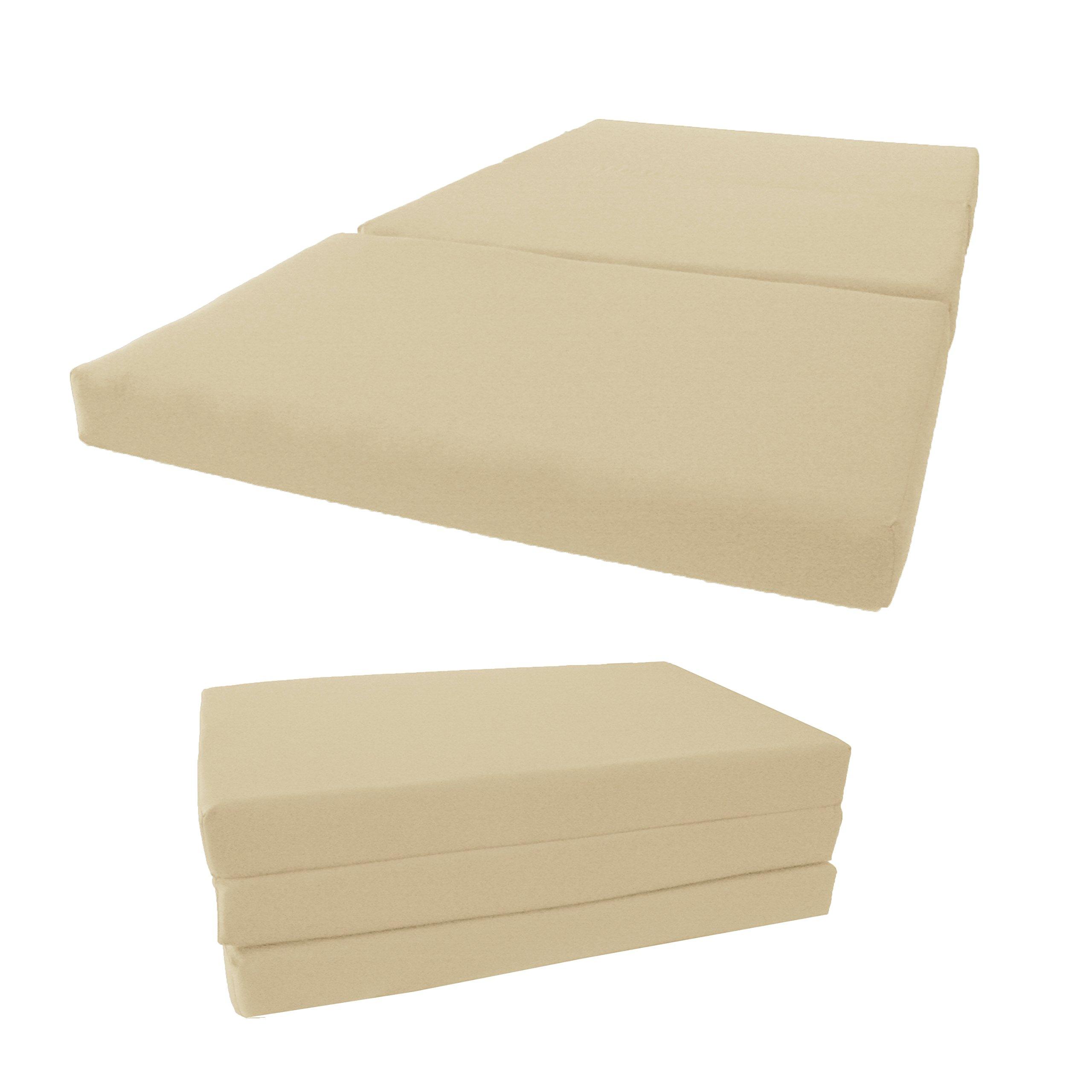 Brand New Shikibuton Tri Fold Foam Beds, Tri-Fold Bed, High Density 1.8 lbs Foam, Twin Size, Full, Queen Folding Mattresses. (Twin Size 4x39x75, Tan)