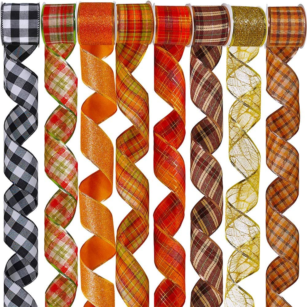 "8 Rolls 48 Yards Assorted Fall Plaid Wired Ribbons Buffalo Check Ribbon Glittered Random Fiber Mesh Wired Ribbon Holiday Gift Wrapping Wreath Bows Craft Trim Ribbons 2.5"" Wide"