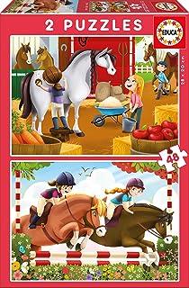 Educa Borrás - Cuidando Caballos, 2 Puzzles de 48 Piezas (17150)