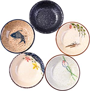 Side Dishes set of 5, Japanese Retro Porcelain Side Dish Bowl Seasoning Dishes Soy Dipping Sauce Dishes