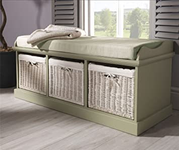 Tetbury Sage Green Storage Bench With 3 White Baskets Hallway Bench With Storage Baskets And