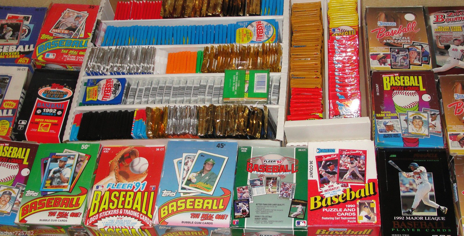 FACTORY SEALED PACK SALE! 100 OLD BASEBALL CARDS ~TOPPS ~ FLEER ~ DONRUSS ~ UPPER DECK ~ SCORE ~ STADIUM CLUB ~ O PEE CHEE ~ BOWMAN SEALED WAX PACKS ESTATE SALE WAREHOUSE FIND!