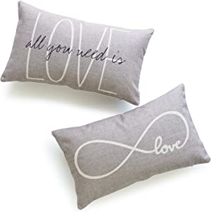 """Hofdeco Decorative Lumbar Pillow Cover Heavy Weight Cotton Linen His and Her Gray Love is All You Need Infinite Love 12""""x20"""" 30cm x 50cm Set of 2"""