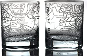 Greenline Goods Whiskey Glasses - 10 Oz Tumbler Gift Set for Boston lovers, Etched with Boston Map | Old Fashioned Rocks Glass - Set of 2