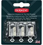 Derwent Twin Hole Sharpener, Set of 3, Replacement Battery Operated , Professional Quality, 2302353