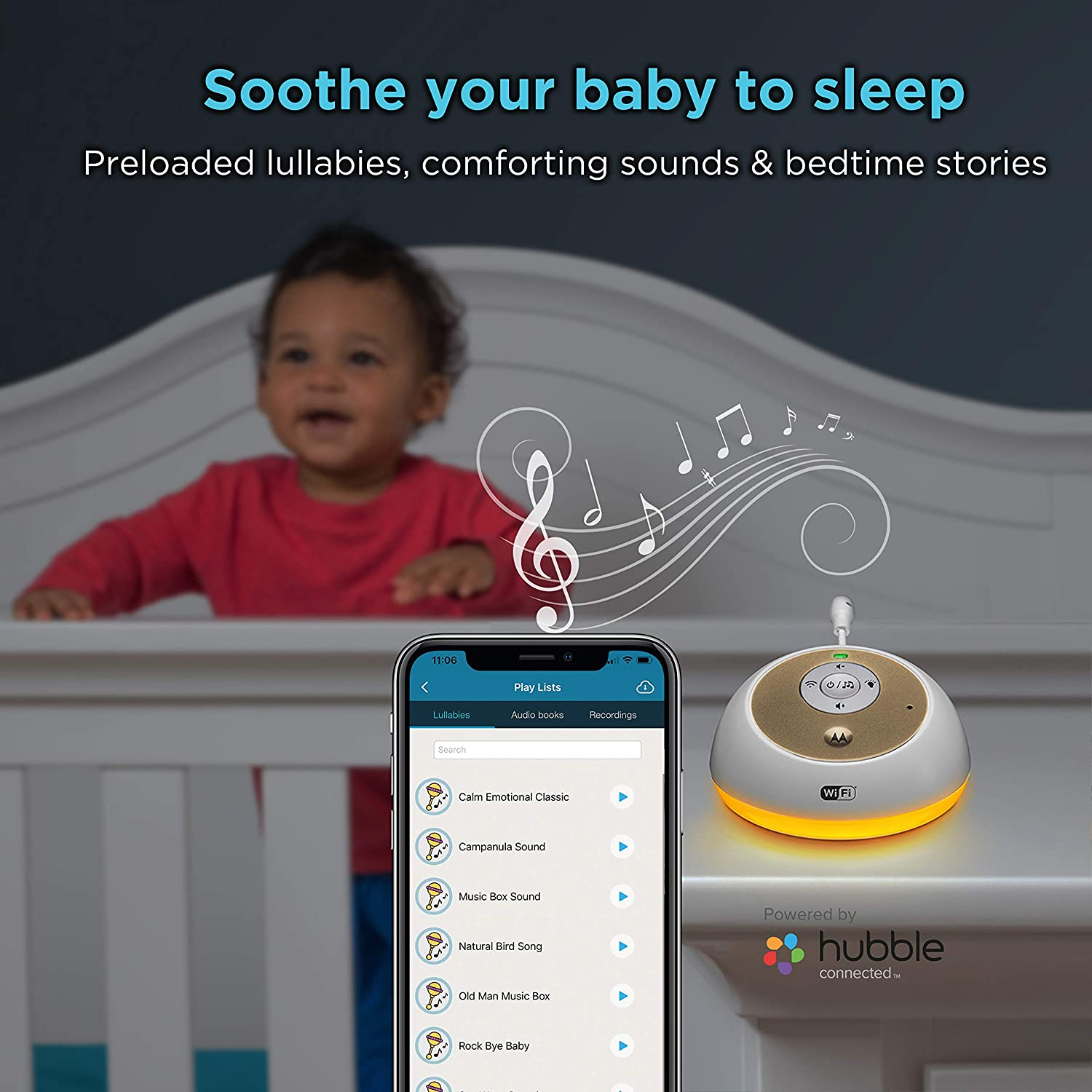 Motorola MBP163CONNECT Audio Baby Monitor Audiobook Lullaby 7 Night Light Color Options Wireless WiFi Smart Device for Toddlers with 10 Soothing Sounds 2-Way Talk Intercom Nursery Infants