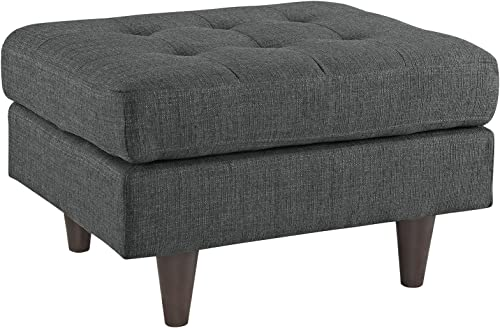 Modway Empress Mid-Century Modern Upholstered Fabric Ottoman In Gray