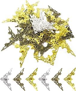 Honbay 60PCS Iron Corner Protectors Guard Edge Cover Metal Furniture Decorative Cover Pad Book Decorative Corner Protector for Desk Jewelry Case Box Book Scrapbooking Albums Menus