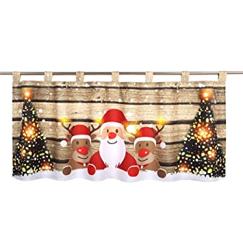 Beleuchtete Bilder Weihnachten.Delindo Lifestyle Led Scheibengardine Christmas Team Für Das Kinderzimmer Beleuchtete Bistrogardine 45x120 Cm Moderne Gardine Zu Weihnachten