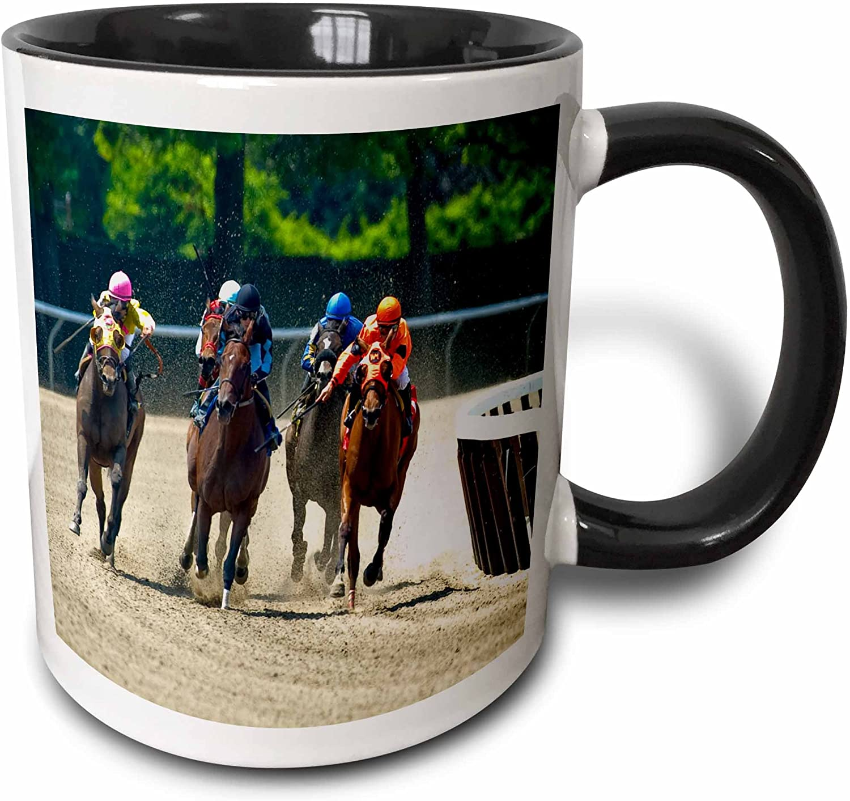 Amazon Com 3drose Group Of Horses Racing Jockeys Two Tone Mug 11 Oz Black White Kitchen Dining