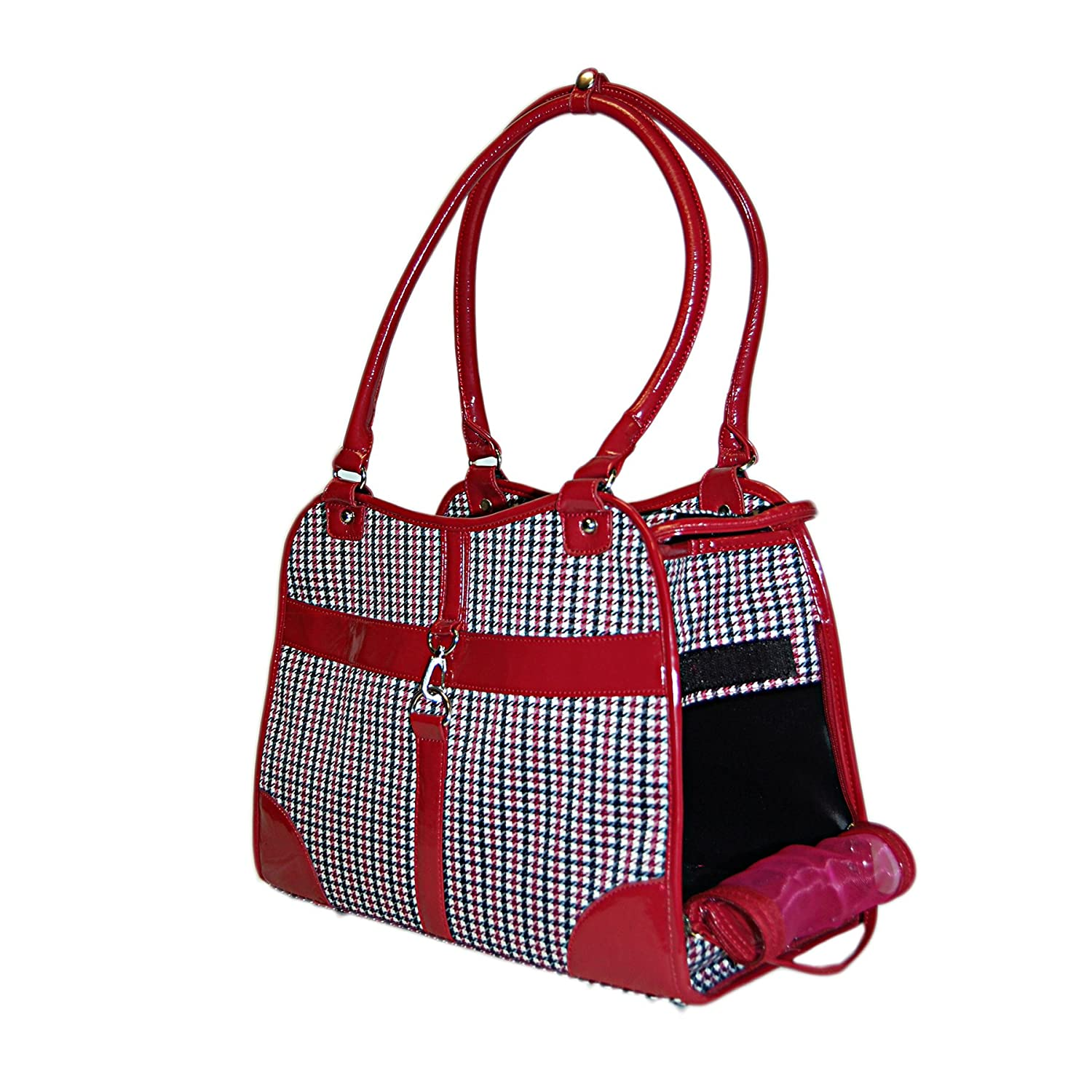 Anima Pet Carrier Purse for Dog, Cat, Puppies,Houndstooth Print Foldable Pet Handbag Tote For Travel, Hiking, Outdoor [13.5 x 6.5 x 10.5] Black Anima International Corp. 3912-BK