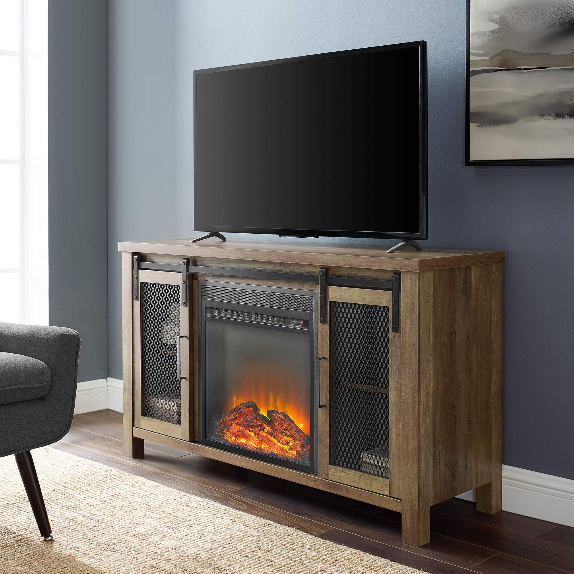 "Walker Edison Furniture Company 48"" Rustic Farmhouse Fireplace TV Stand - Rustic Oak"