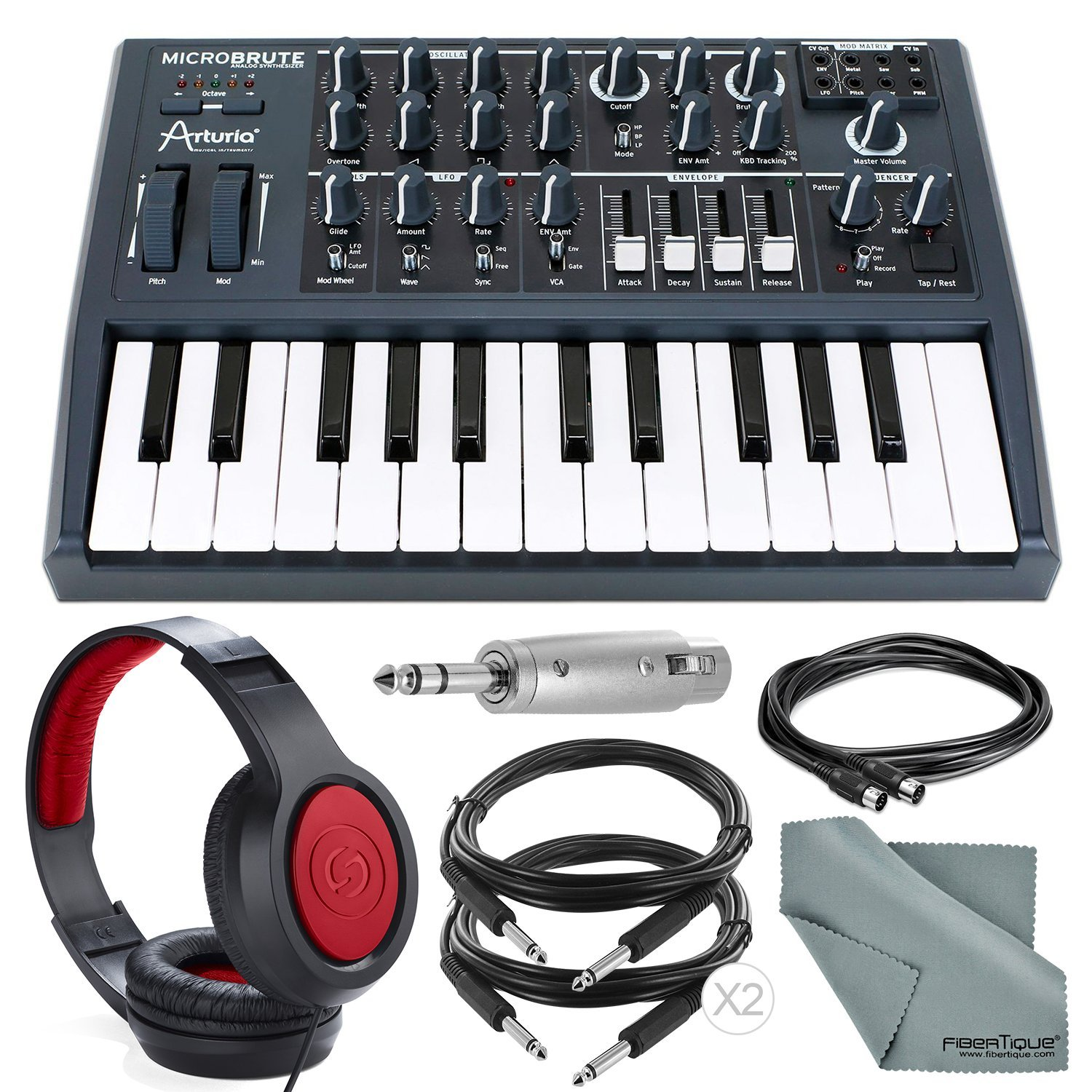 Arturia Microbrute 25-Note Mini Keyboard Analog Synthesizer and Accessory Bundle w/Stereo Headphones + Adapter + Cables