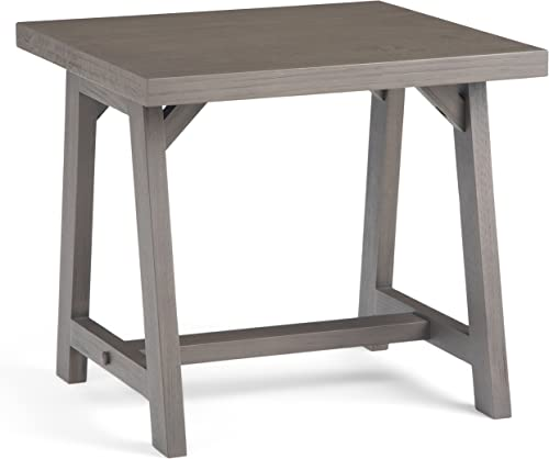 Simpli Home Sawhorse SOLID WOOD 22 inch wide Square Modern Industrial End Side Table in Farmhouse Grey, for the Living Room and Bedroom