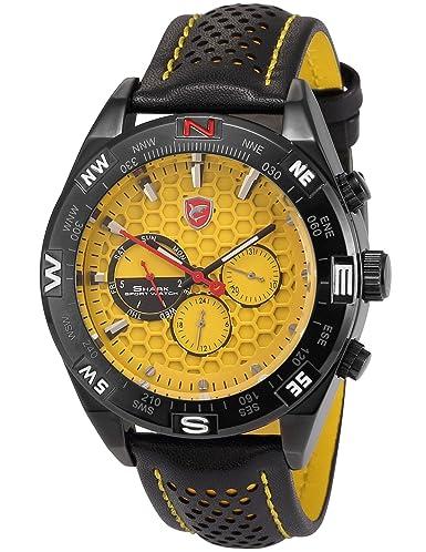 Shark SH083 - Reloj Hombre de Cuarzo, Correa de Cuero Negro: Amazon.es: Relojes