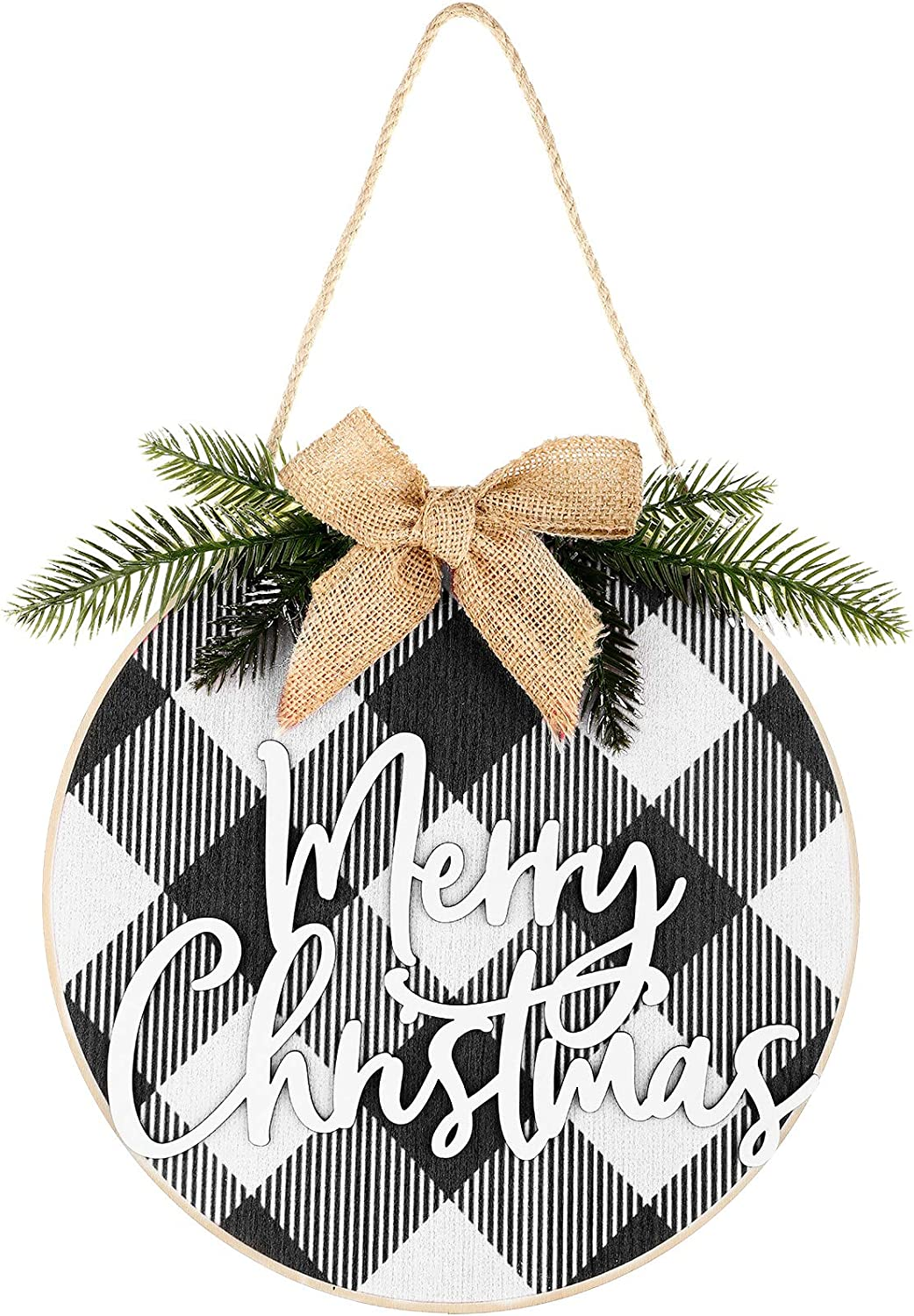 Jetec Merry Christmas Decorations Wreath Christmas Hanging Sign Rustic Burlap Wooden Holiday Decor for Christmas Home Window Wall Farmhouse Indoor Outdoor Decorations (White and Black)