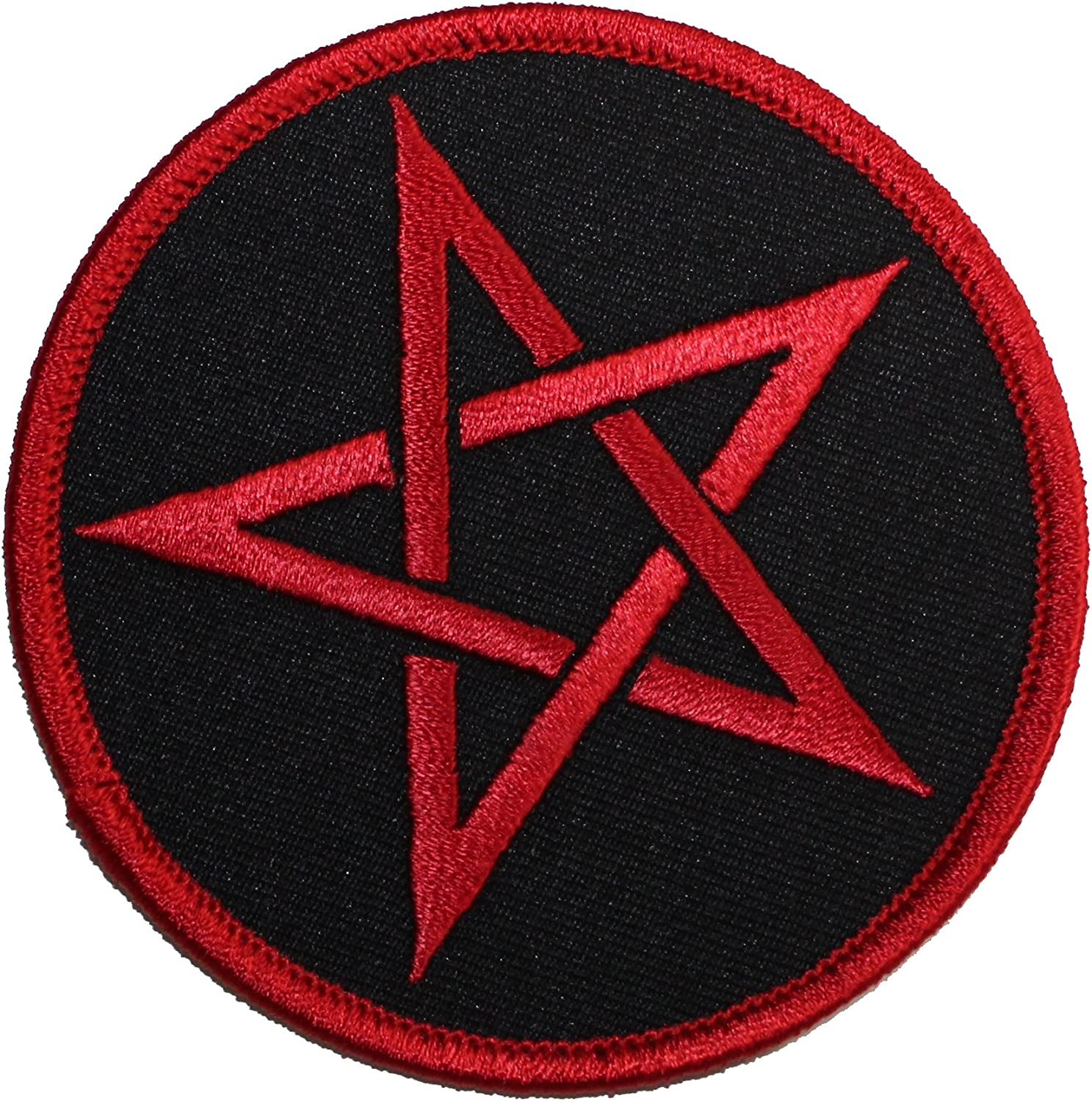 Red Pentagram Iron On Patch Devil Wicca Demon Witchcraft Badge Applique Sew
