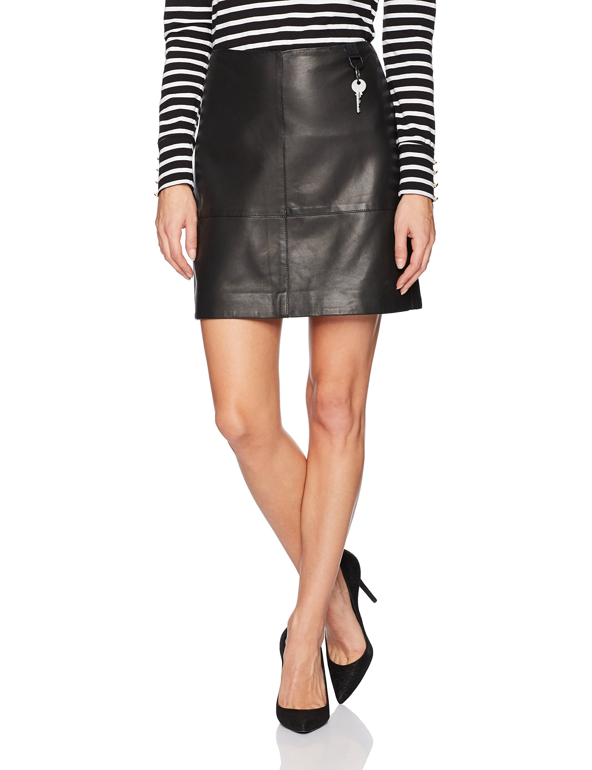 Kenneth Cole Women's Leather Seamed Mini-Skirt, Black, S