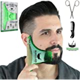 BEARDCLASS - Beard Shaping Tool - 6 in 1 Comb Multi-liner Beard Shaper Template Comb Kit Transparent - Bonus Items Included - Works with any Beard Razor Electric Trimmers or Clippers - (Green)