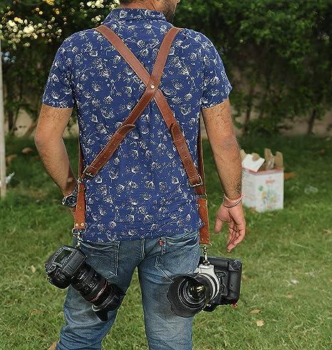 Arnés para cámara Doble Personalizado, Correa de Piel auténtica ...