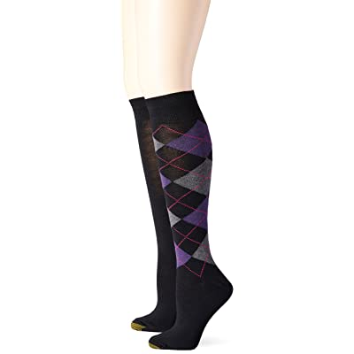 Gold Toe Women's Argyle Knee High Sock (Pack of 2) at Women's Clothing store