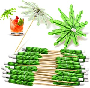 40 Pieces Green Tropical Coconut Palm Tree Toothpicks Paper Umbrellas Bamboo Toothpicks Handmade Cocktail Parasol Sticks for Cocktail Decorations