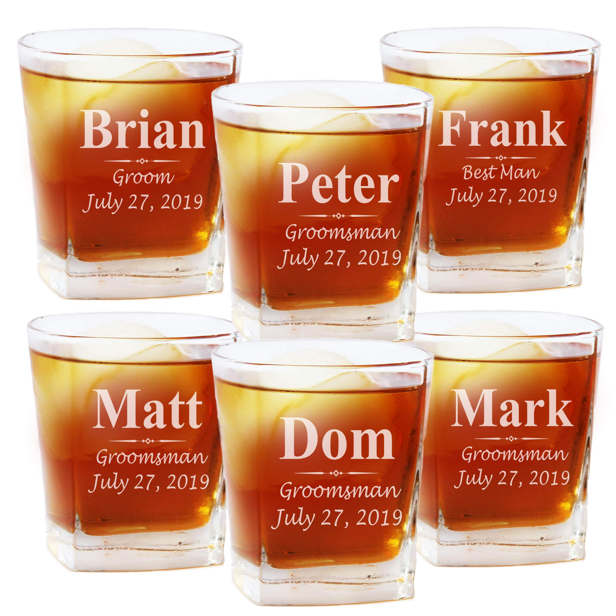 Set of 1, 4, 5 and More Custom Personalized Whiskey Rocks Glasses for Bachelor Party - Engraved Square Rocks Glass Gifts for Groom, Groomsman - 3-Lines Style (6)