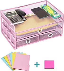 """Pro Space Mesh Desk Organizer 3-Tier Metal Desktop File Organizer with 3 Drawers,Document Letter Tray for Office or Home,6 File Folders and a Note for Free,13.8""""9.06""""6.9"""", Pink"""