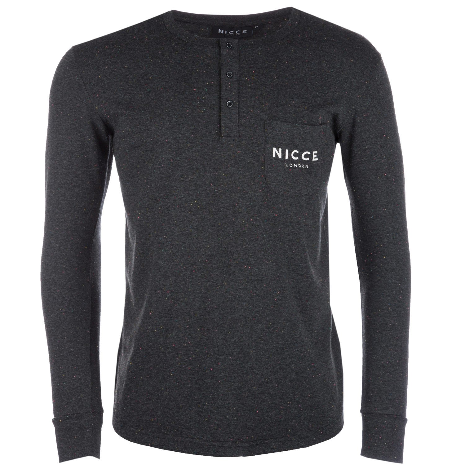 Black NICCE Mens Boucle Henley Pocket T-Shirt
