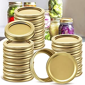 Regular Mouth Canning Lids, 48Pcs Mason Jar Lids and Rings for Mason Jars, 24 Lids+24 Bands Split-type Lids with Leak Proof Seal Ring for Ball Kerr and More, Food Grade, Gold