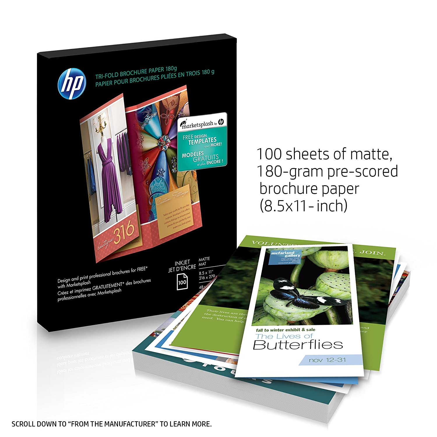 amazon com hp tri fold brochure paper matte 100 sheets 8 5 x 11