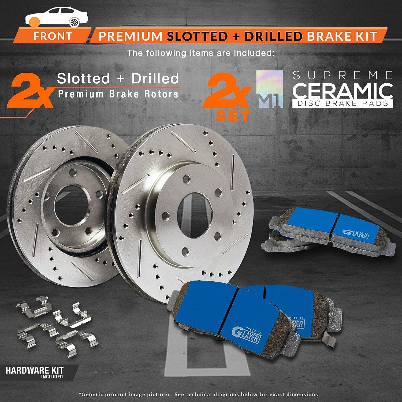 Max Brakes Front Supreme Brake Kit Premium Slotted Drilled Rotors + Ceramic Pads Fits: 2012 12 2013 13 Honda CR-V AWD Models KM114531
