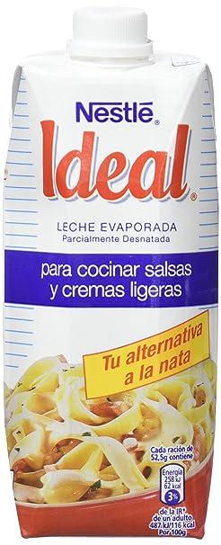 Nestlé IDEAL Leche Evaporada Semidesnatada - Caja de 12 x 500ml (525 gr)